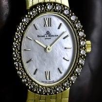 Baume & Mercier Classic Quartz All 14K Gold 26 Diamonds MOP...