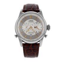Oris Artelier Worldtimer pre-owned 43mm Silver Date Leather