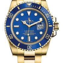 Rolex Submariner Blue Index Dial 18k Yellow Gold 116618LB