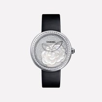 Chanel White gold Quartz Mother of pearl No numerals 37.5mm new Mademoiselle