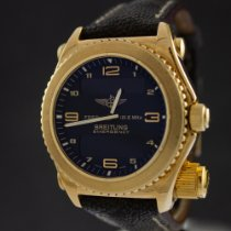 Breitling Gelbgold Quarz Schwarz 43mm gebraucht Emergency