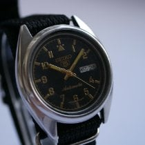 Seiko 5 Steel 37mm Black Arabic numerals