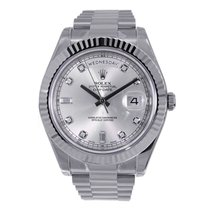 Rolex DAY-DATE II 41mm 18K White Gold SilverDiamond Dial Box/Pap