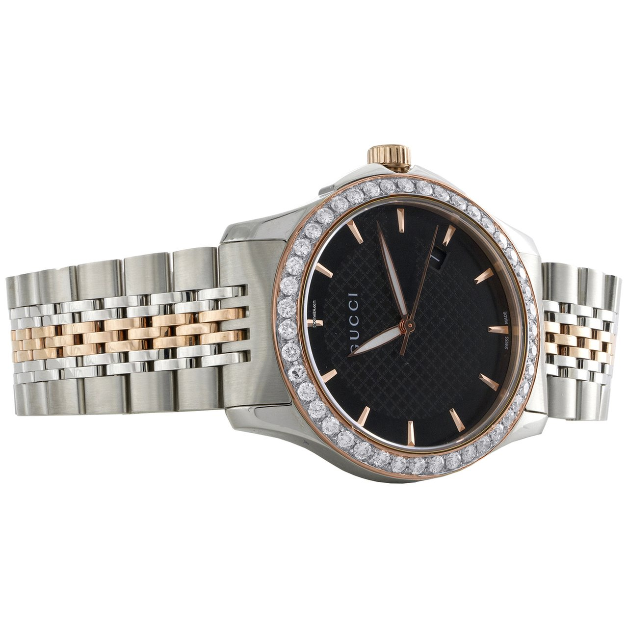 d0d6a7dacc3 Gucci Ya126410 Diamond Watch G-Timeless 38mm Two Tone Rose  ... for S   2