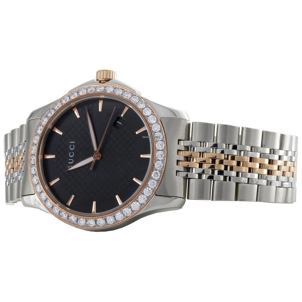 153f15267ca Gucci Ya126410 Diamond Watch G-Timeless 38mm Two Tone Rose  ... for ...