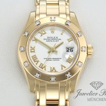 Rolex Pearlmaster Geelgoud 29mm Wit Romeins