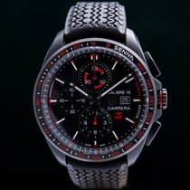 TAG Heuer Carrera Calibre 16 pre-owned 44mm Black Chronograph Date Rubber