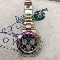 Rolex Daytona Yellow Gold Rainbow Bezel Custom Watch 116528