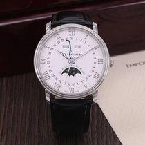Blancpain Villeret Quantième Complet pre-owned 40mm White Moon phase Date Month Leather