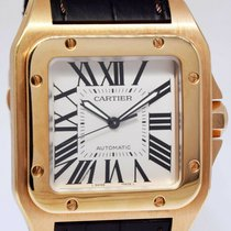 Cartier Rose gold Automatic Silver Roman numerals 38mm pre-owned Santos 100
