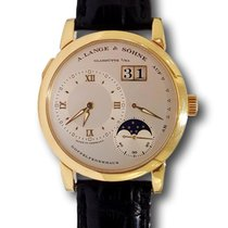 A. Lange & Söhne A  Moonphase Silver Dial Black Leather Strap...