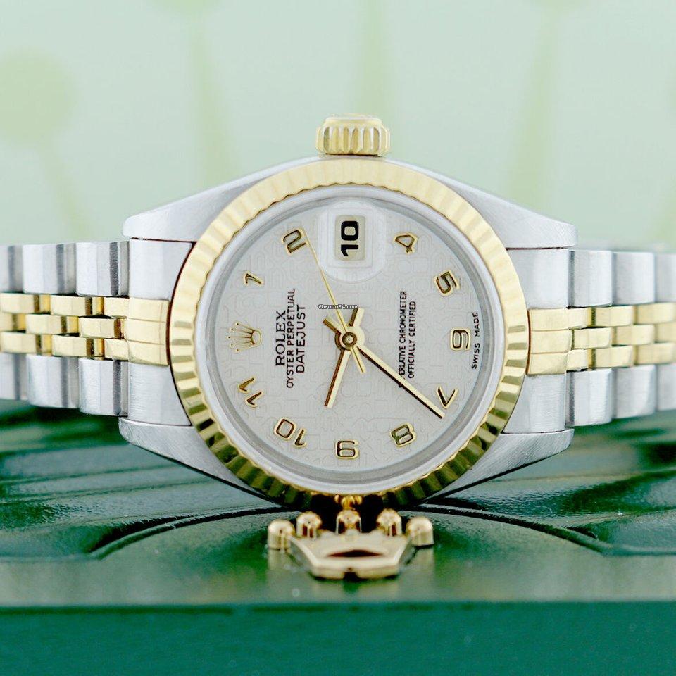 Rolex Datejust Ladies 2 Tone Original Jubilee Dial 26mm Watch 69173 No Holes