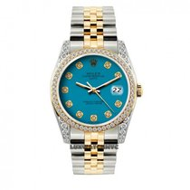 Rolex Date Unisex 34mm Blue Dial Stainless Steel And Gold...