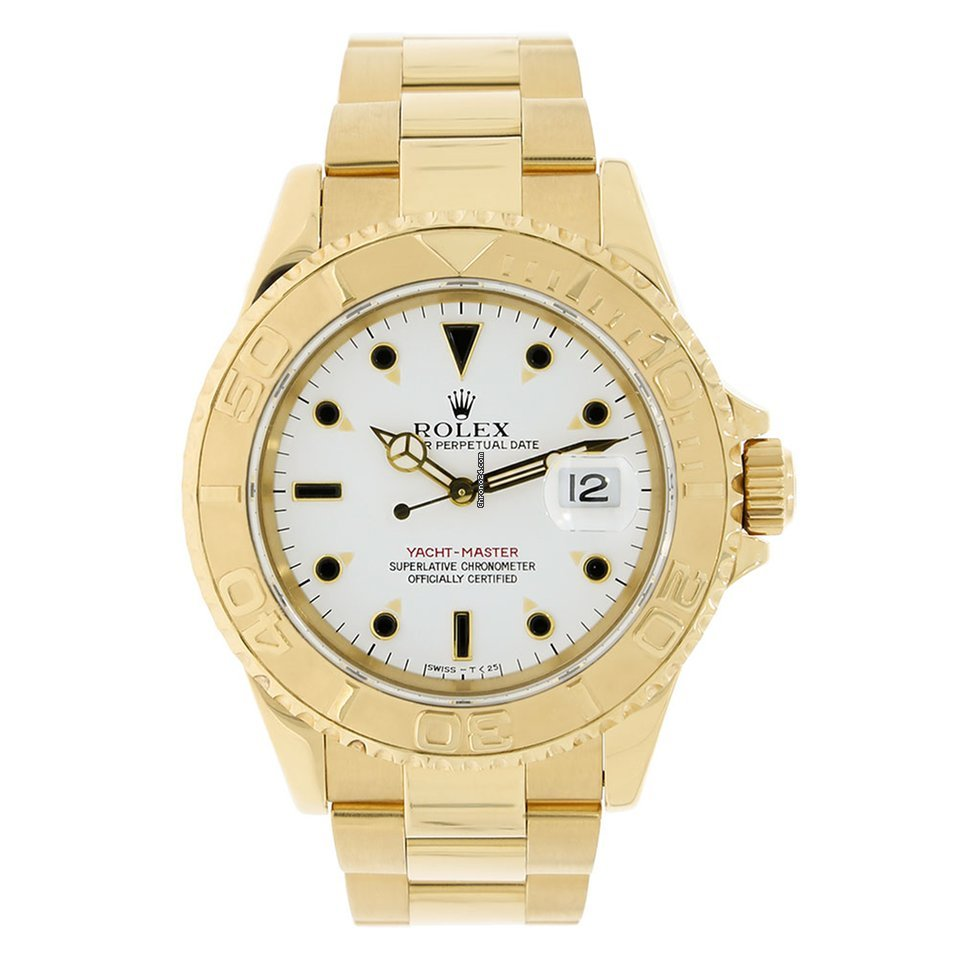Rolex YACHT,MASTER 40mm 18K Yellow Gold White Dial Watch 16628