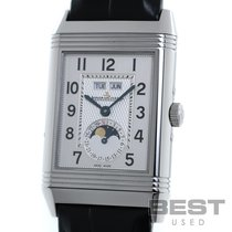 Jaeger-LeCoultre Grande Reverso Calendar pre-owned 29mm Silver Moon phase Leather