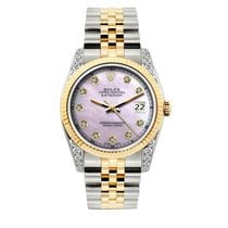 Rolex Datejust Men's 36mm Pink Mother Of Pearl Dial Yellow...