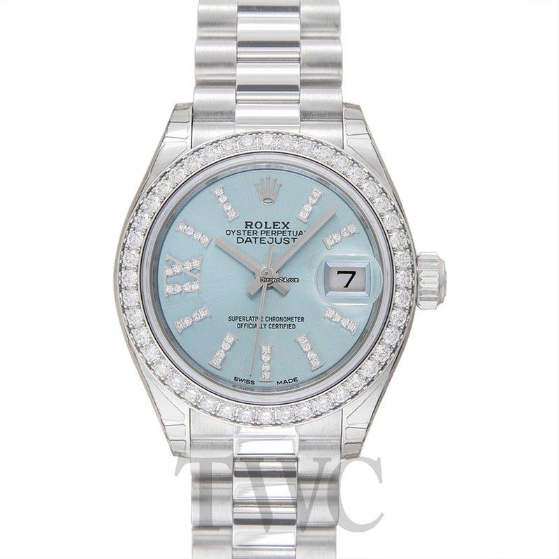 buy popular fe197 12d39 Rolex Lady-Datejust 28 Platinum Diamond / President / Ice Blue Dia