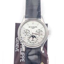 Patek Philippe Perpetual Calendar Vitguld 37.2mm Silver Inga siffror
