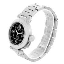 Cartier Pasha C Midsize Big Date Steel Watch Black Dial W31053m7