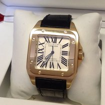 Cartier Santos 100 pre-owned Silver Crocodile skin