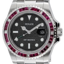 Rolex GMT-Master II Steel Red Ruby Precious Stones Bezel Black...