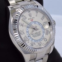 Rolex White gold Automatic Champagne Roman numerals 42mm pre-owned Sky-Dweller