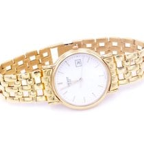 Tissot Carson pre-owned 34mm White Date Yellow gold