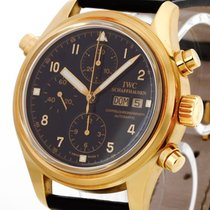 IWC Yellow gold Chronograph Black 42mm pre-owned Pilot Double Chronograph