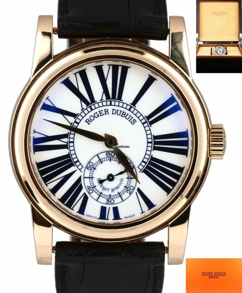 Roger Dubuis UNPOLISHED Roger Dubuis 18K Yellow Gold White Roman Leather  Band 40mm Watch