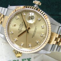 Rolex Men's UNWORN Datejust 36mm Factory Diamond Dial Box Papers