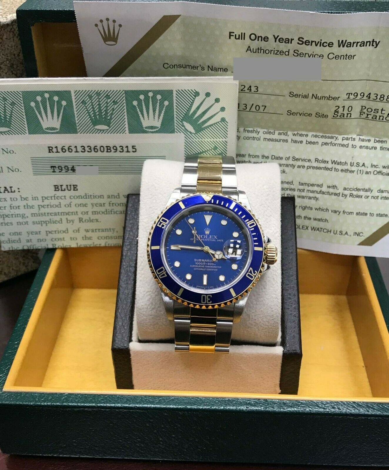 Rolex Submariner 16613 Blue 18k Gold & Stainless Steel Gold    for