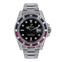 Rolex GMT-MASTER II White Gold Black Dial Diamond Bezel 116759SAR