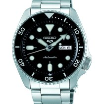 Seiko Steel Automatic Black No numerals 43mm new 5 Sports