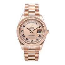 Rolex Or rose Remontage automatique Rose Romain 41mm occasion Day-Date II