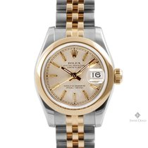 Rolex Datejust Steel and Gold Champagne Tapestry Dial Smooth...