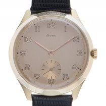 Stowa Armbanduhr 14kt Gelbgold Handaufzug Armband Leder 35mm...