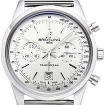 Breitling Transocean Chronograph 38 gebraucht 38mm Silber Chronograph Datum Stahl