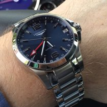 Longines CONQUEST Auto Date Full Steel Blue Dial GMT 41mm...