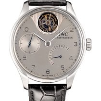 IWC Portuguese Tourbillon pre-owned 44mm Silver Tourbillon Crocodile skin