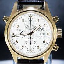 IWC Pilot Double Chronograph Or jaune 42mm Blanc Arabes