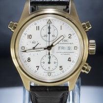 IWC Pilot Double Chronograph usato 42mm Bianco Cronografo Doppio cronografo Data Indicatore dei giorni settimanali Pelle