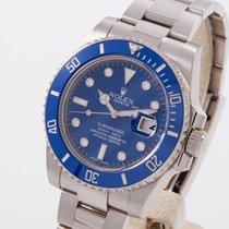 Rolex Submariner Date gebraucht 40mm Blau Datum Weißgold