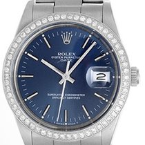 Rolex Date Men's Stainless Steel Watch Blue Dial 15000