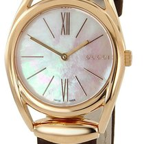 Gucci Horsebit WHT Pearl Dial Brown Leather Pink Gold PVD...