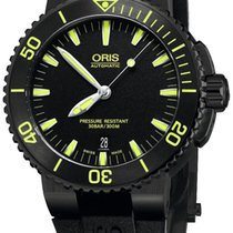 Oris Aquis Date Automatic Black DLC Steel Mens Dive Watch...
