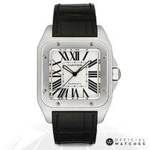 Cartier Santos 100 Stal 41mm Biały Rzymskie