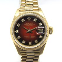 Rolex Lady-Datejust Or jaune 26mm Rouge Sans chiffres