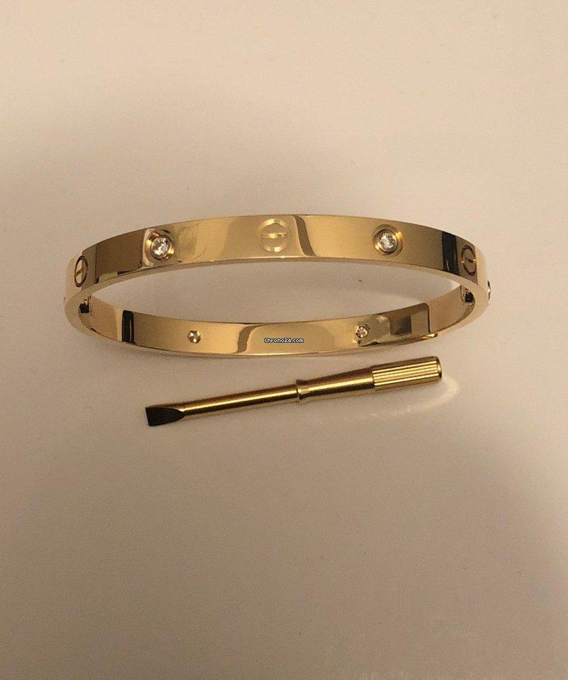 6e2668d3e7e Cartier Love Bracelet - Yellow Gold 20cm - 4 Diamond for  9