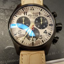 Alpina Startimer Pilot gebraucht 44mm Chronograph Dornschließe