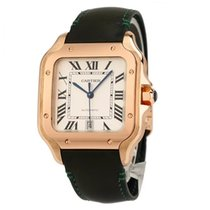 Cartier Santos (submodel) pre-owned 39.8mm Yellow Date Crocodile skin